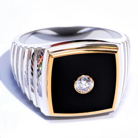 Men's gold ring with black onyx and diamond