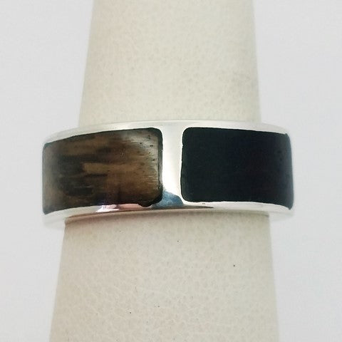 Wood and silver ring