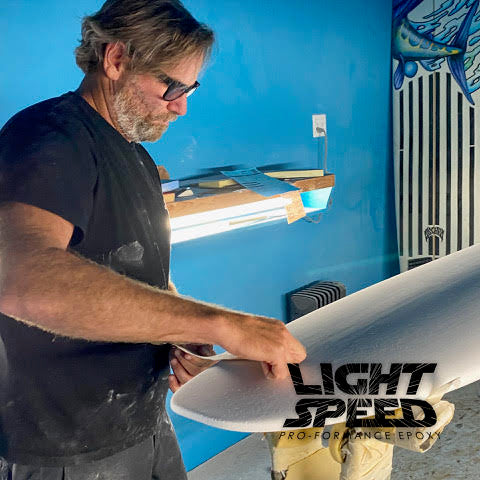 matt biolos shaping a new driver 2.0 lightspeed surfboard