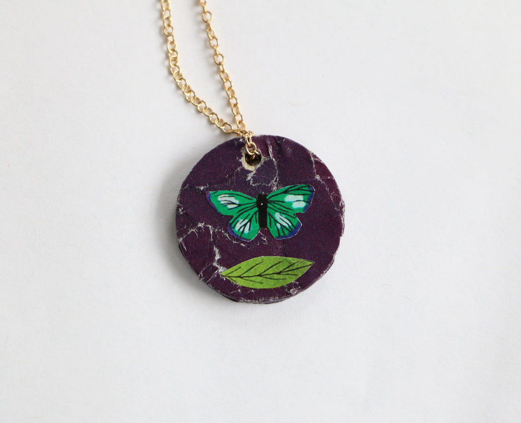 Butterfly/Original Reversible Collage Necklace