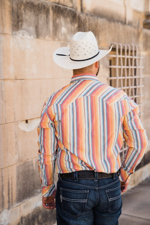 Dale Brisby Mens Serape Stripe Long Sleeve Snap Shirt - Pistols and Petticoats