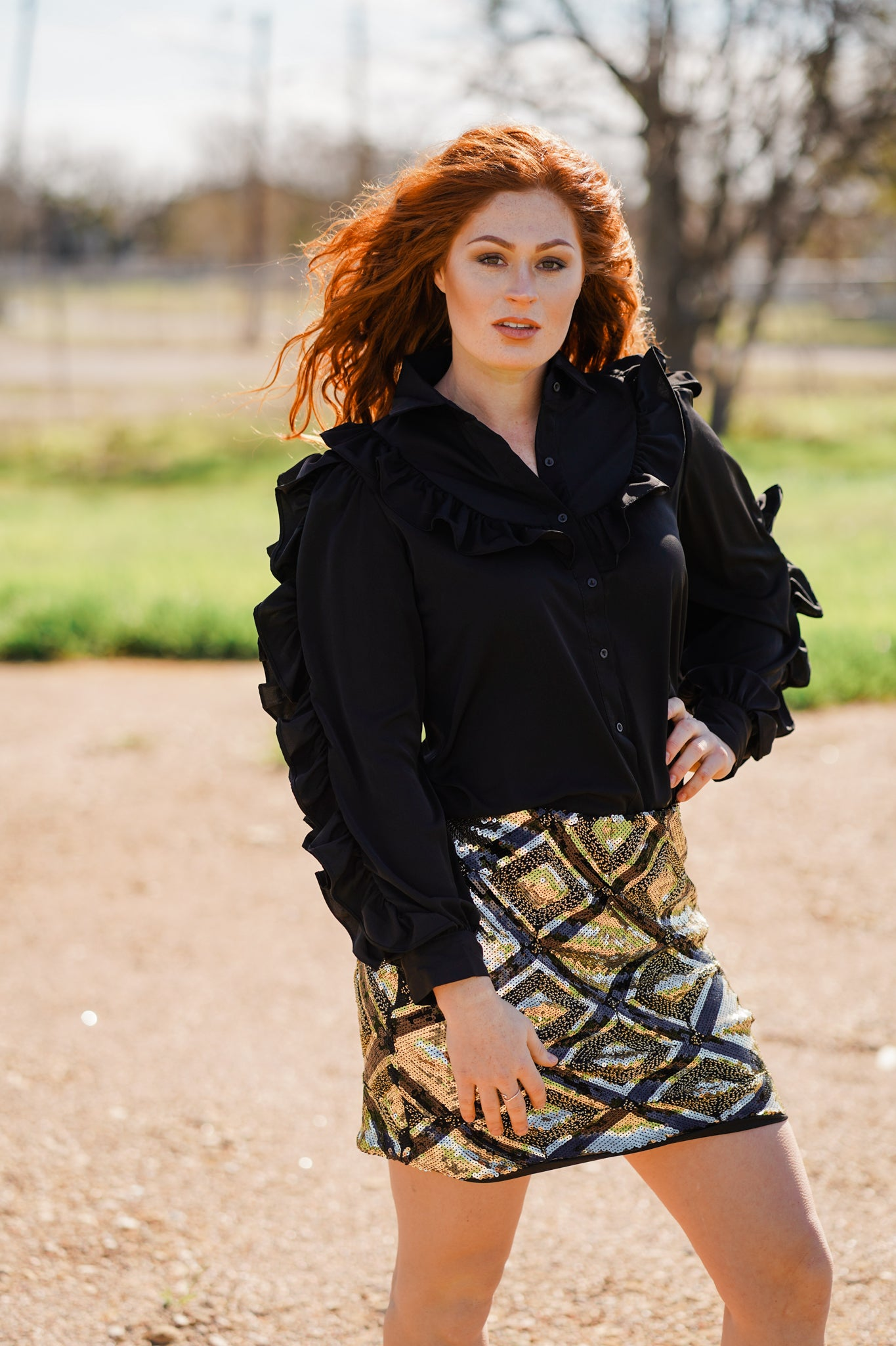 Ruffle Black Button Down Shirt - Pistols and Petticoats