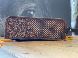 Tooled Leather Toiletry Bag