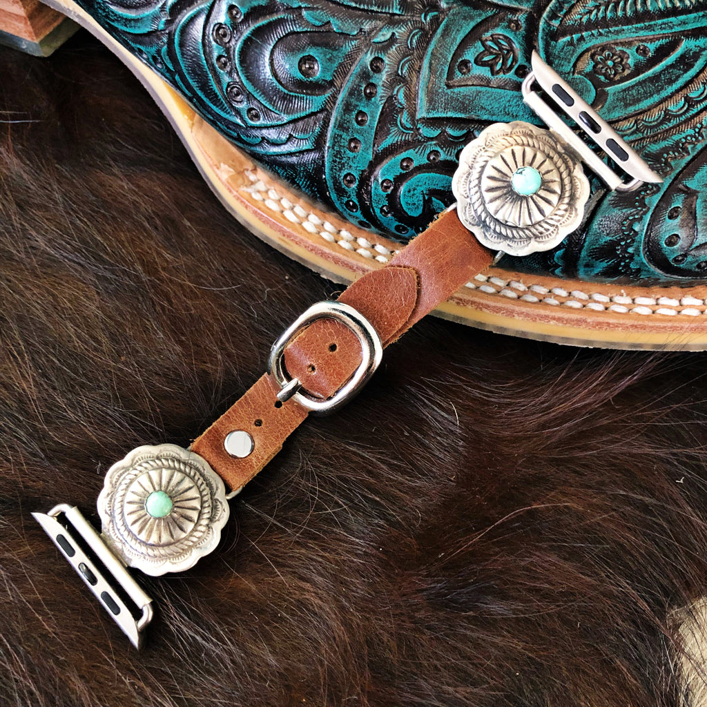Wild Horse Watchin Bands Small Concho with Turquoise - Pistols and Petticoats
