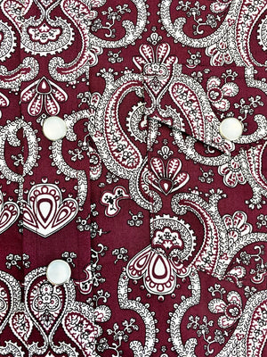 Boy's Burgundy Paisley Long Sleeve Shirt