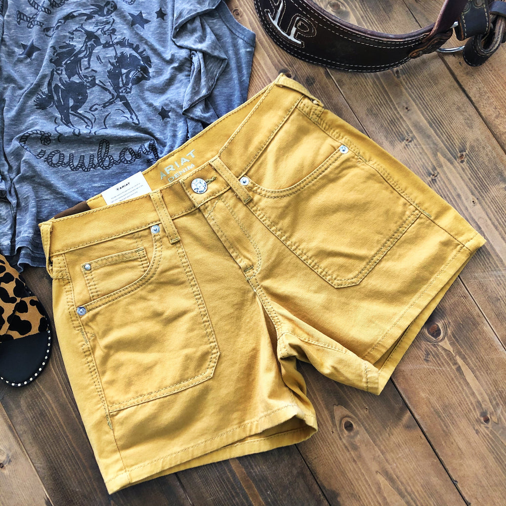 Carmel Gold Boyfriend Shorts - Pistols and Petticoats