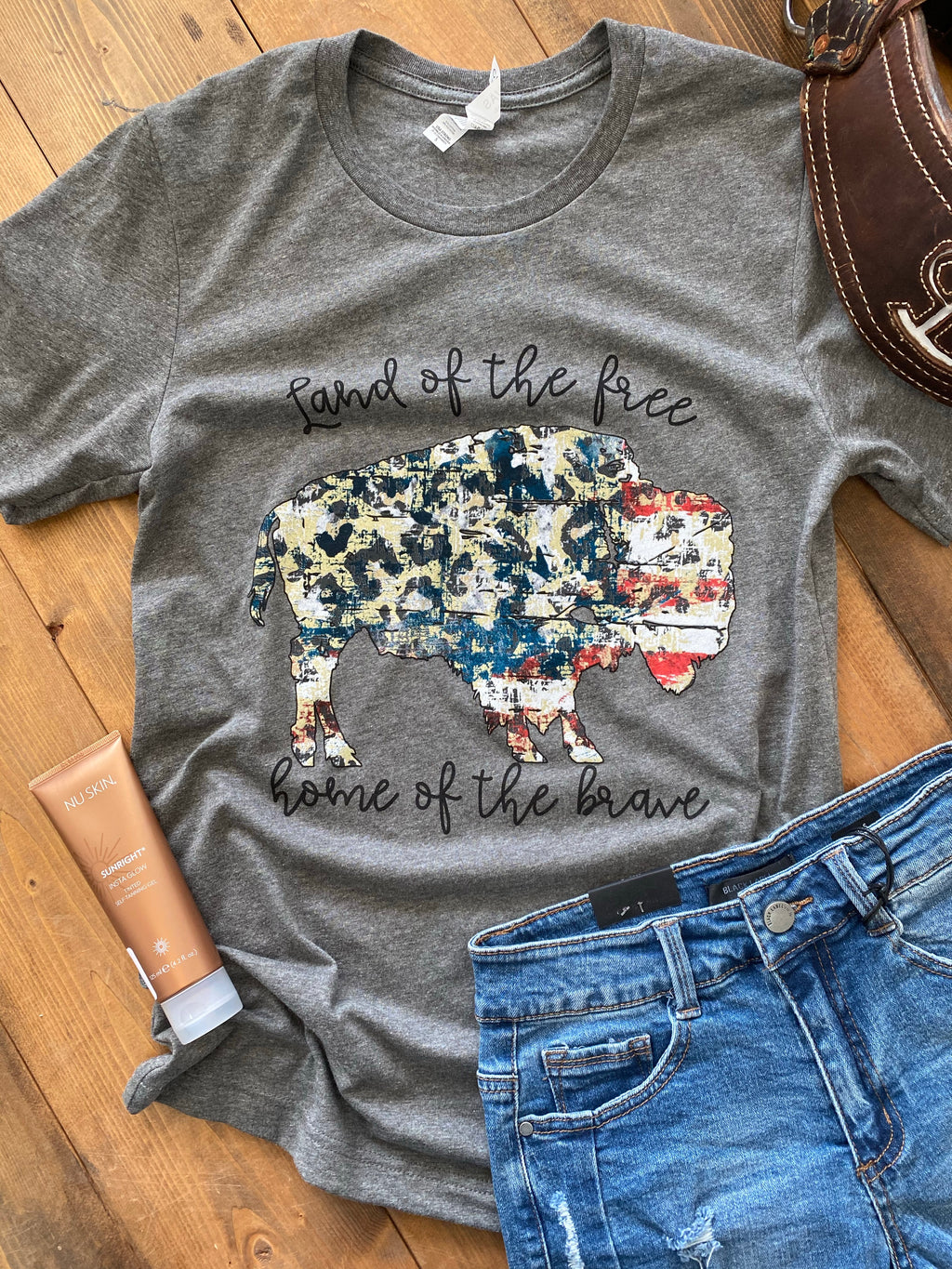 Land of the Free Buffalo Graphic Tee