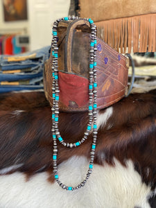 Navajo Pearl and Turquoise Beaded Necklace