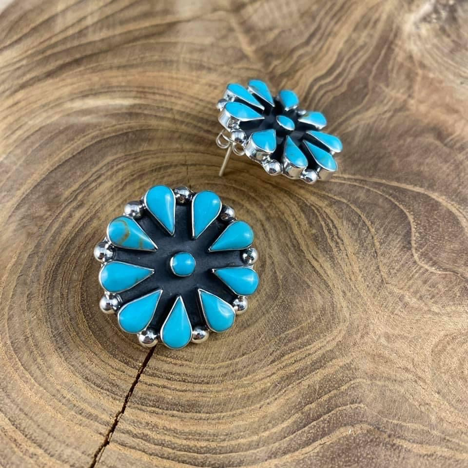 "Authentic Turquoise 1"" Round Cluster Earring"
