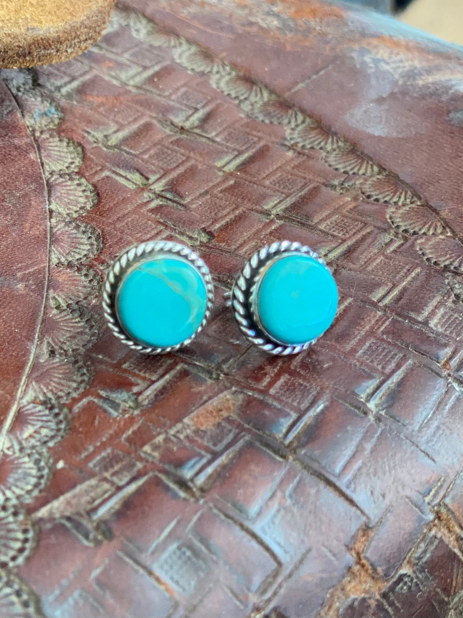 Authentic Turquoise Round Stud Earrings