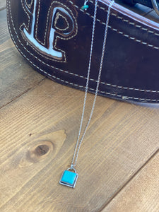 Authentic Turquoise Square Necklace