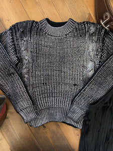 Silver Cable Knit Sweater