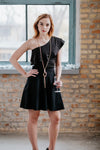 One shoulder frill neck black dress in Dress - New York Black Dress