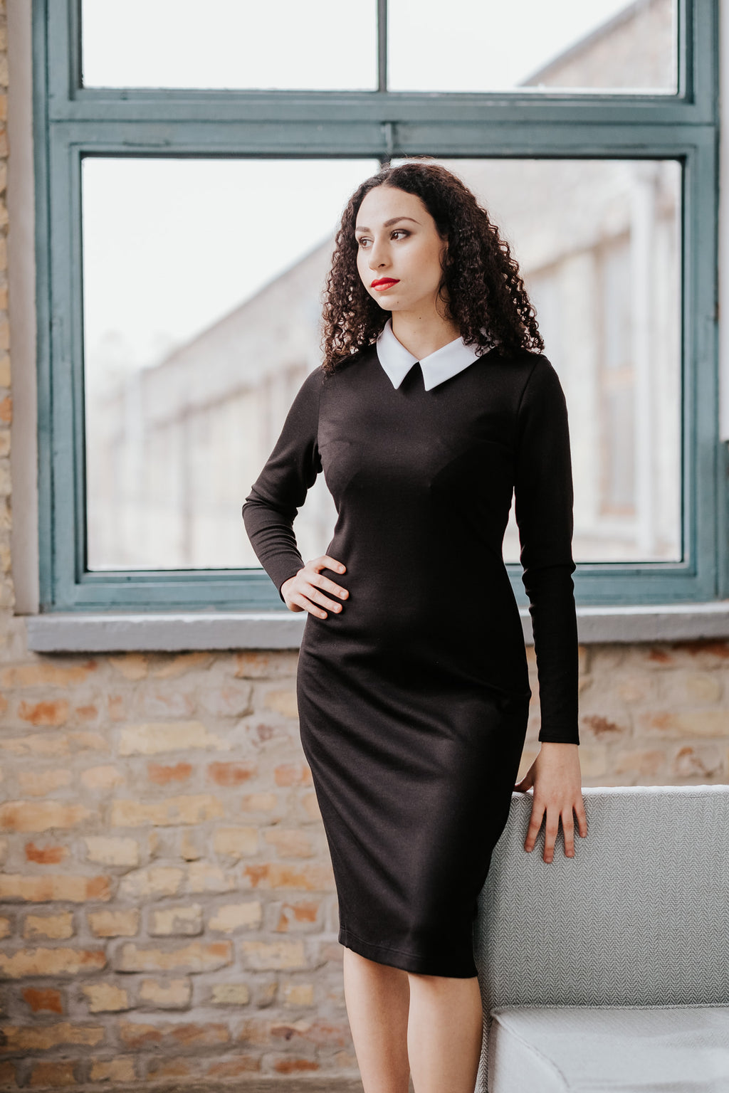 Long sleeve white collar duchess black dress in Dress - New York Black Dress