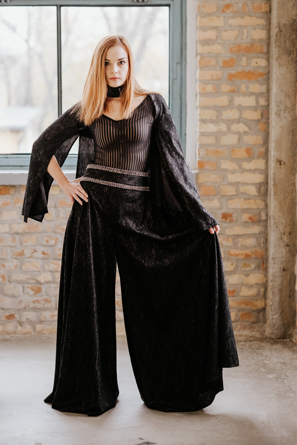 Black cape, black bodysuit, wide long black pants SET in set - New York Black Dress
