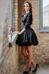 Lbd, black dotted mini cupcake dress with bolero SET in set - New York Black Dress