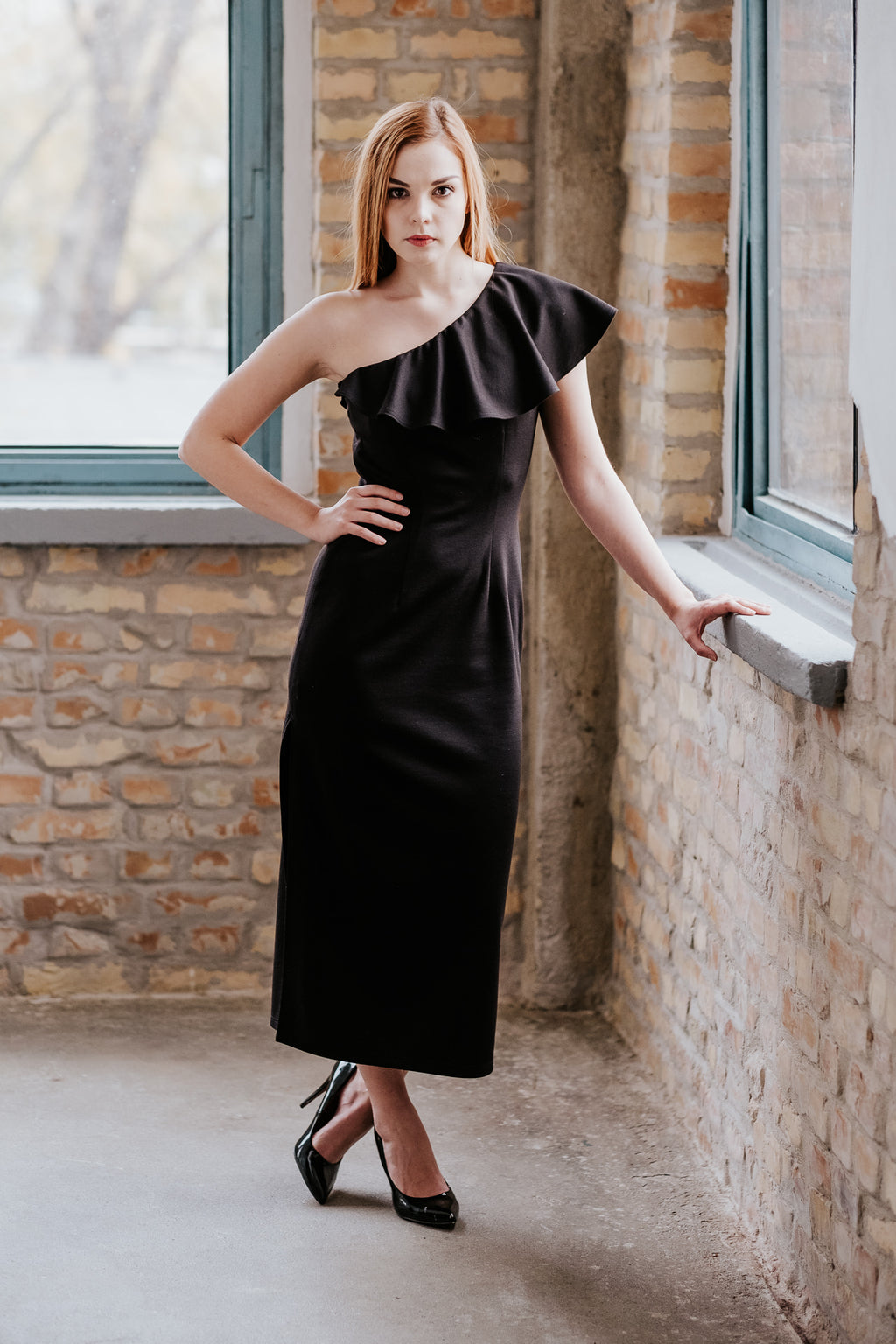 One shoulder long black dress with frill in Dress - New York Black Dress