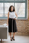 Black white midi dress with black collar in Dress - New York Black Dress