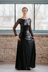 Leather style black maxi dress with long lace sleeves in Dress - New York Black Dress
