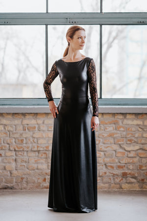 Leather Style Black Maxi Dress With Long Lace Sleeves New York