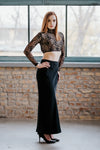 Open back black crop top Black long skirt SET in set - New York Black Dress