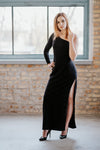 One shoulder long sleeve black maxi dress in Dress - New York Black Dress