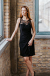 Sleeveless black dress, with leaf-style neckline in Dress - New York Black Dress