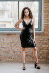 Leather style mini black dress with glam-strap in Dress - New York Black Dress