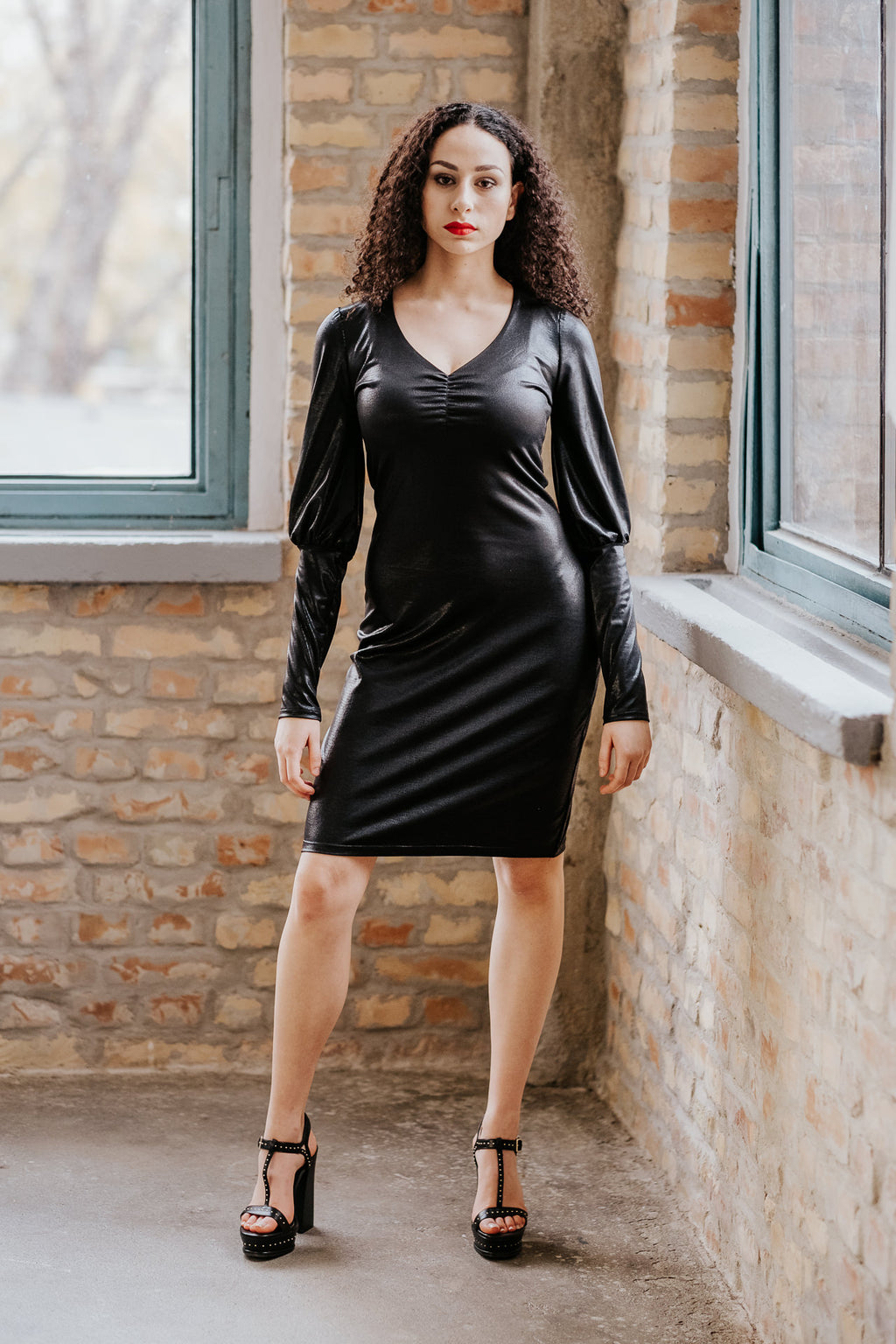 Leather style little black dress with long sleeves in Dress - New York Black Dress