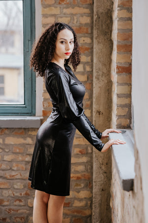 Leather Style Little Black Dress With Long Sleeves New York Black