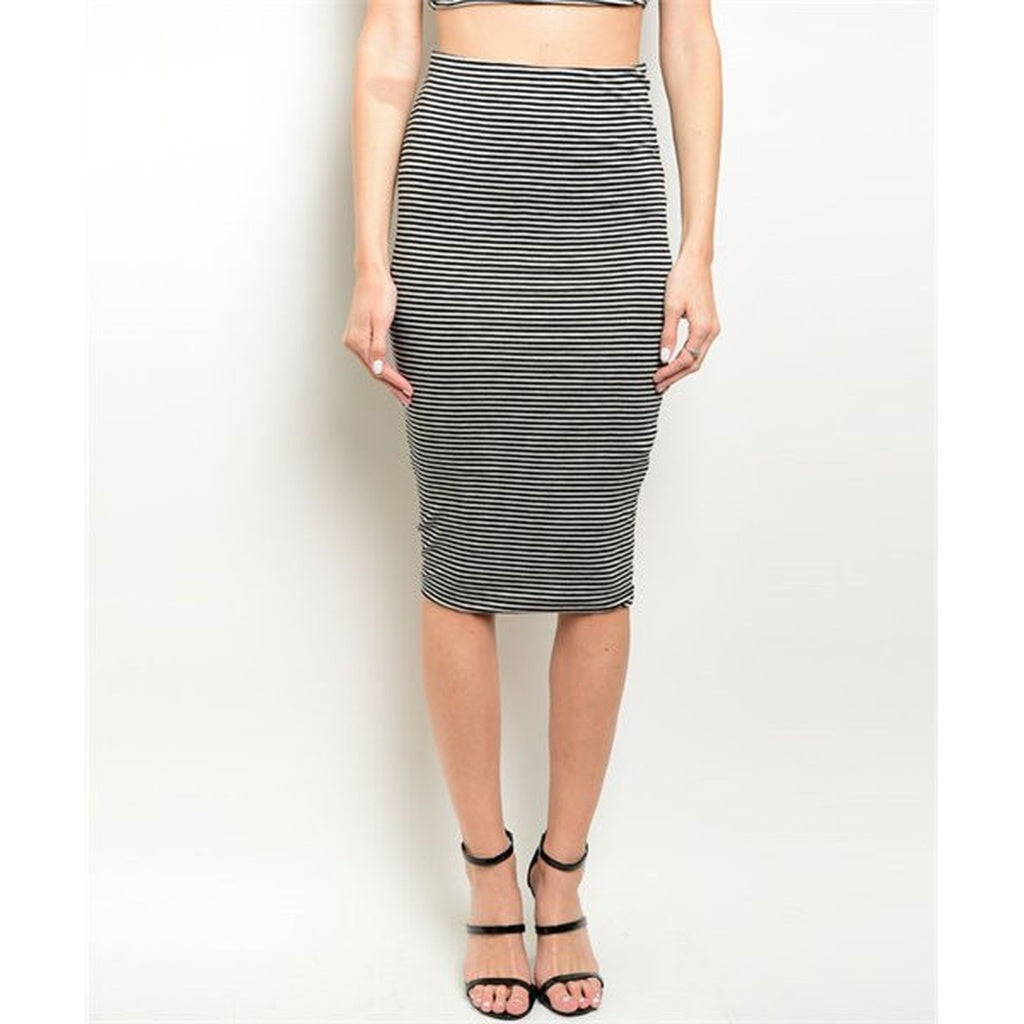 Women's Skirt Striped Black And Grey in Women - Apparel - Dresses - Casual - New York Black Dress