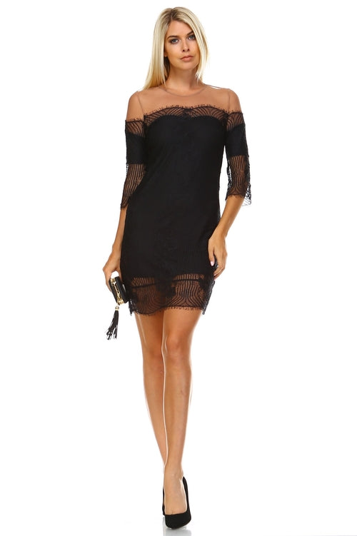 Women's Sheer Mesh Lace Dress in Dress - New York Black Dress