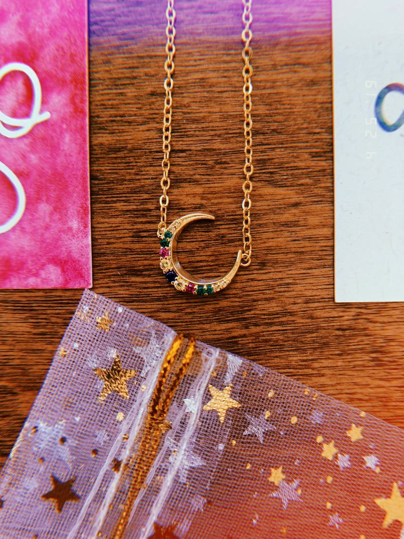 MISCARRIAGE MOON NECKLACE AND AFFIRMATION CARDS