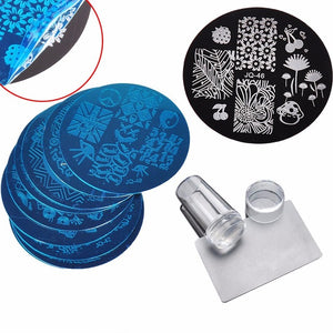 Nail Art Stamping Set By Uvenux. (10Pcs Plus Silicone Stamper And Scraper)