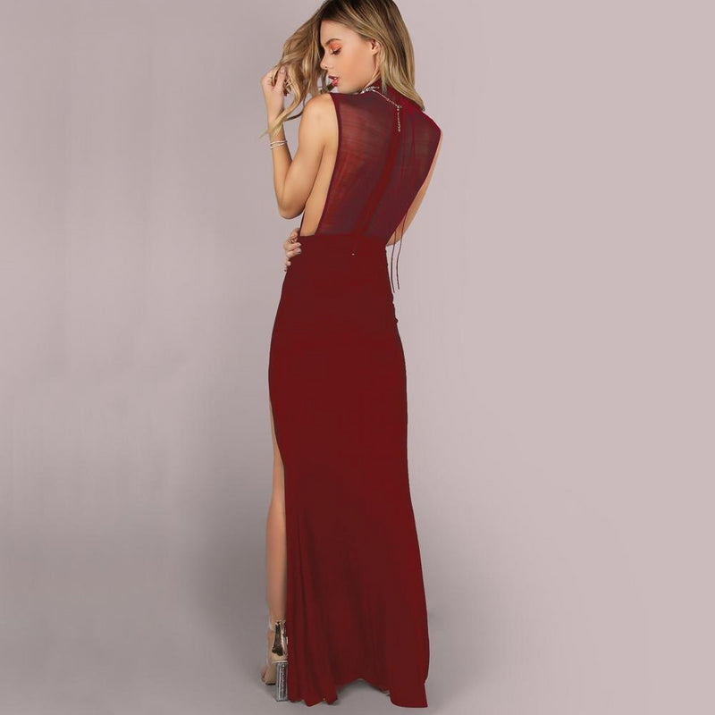 Mesh Back Double Slit Skinny Sheath Maxi Dress.