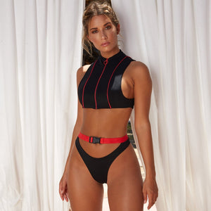 High Waist Push Up Zippered Deep V-Neck Two Piece Bikini. (7 Colors Available)
