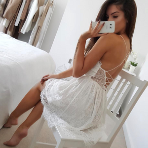 Backless V-Neck Spaghetti Strap Lace Dress. (2 Colors Available)