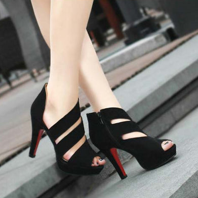 Peep Toe Gladiator Style Flock High Heel Pumps.