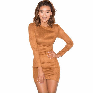 Faux Suede Long Sleeve Bodycon Dress. (2 Colors Available)