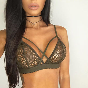 Sexy Floral Sheer Cross Bandage Bustier Lace Bralette. (3 Colors Available)