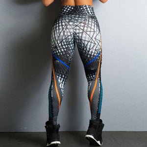 Elastic High Waist Geometric Lines Print Fitness Leggings. (Quick-Dry Breathable Slim Sports Tights)