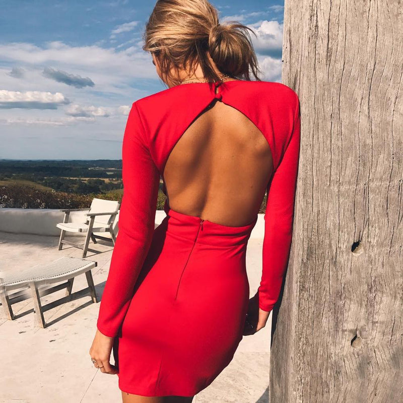 Long Sleeve Deep V-Neck Backless Bodycon Mini Dress. (4 Colors Available)