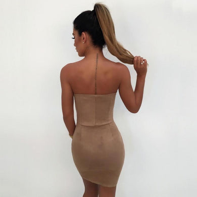 Faux Suede Bodycon Slash Neck Bandage Slim Dress. (3 Colors Available)