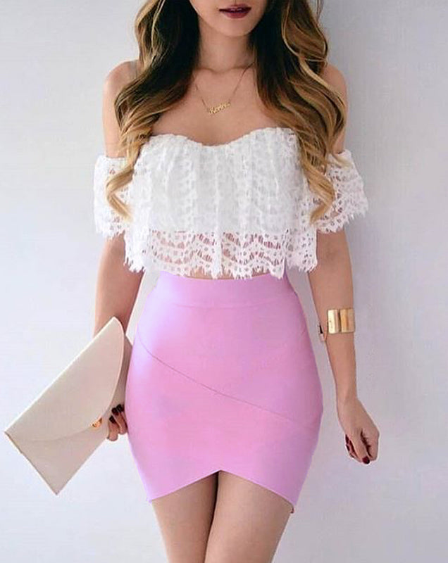 Bodycon Irregular High Waist Elastic Mini Bandage Skirt. (7 Colors Available)