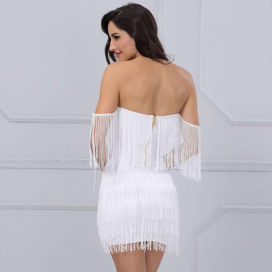 Off Shoulder V-Neck Bandage Tassel Mini Dress. (4 Colors Available)