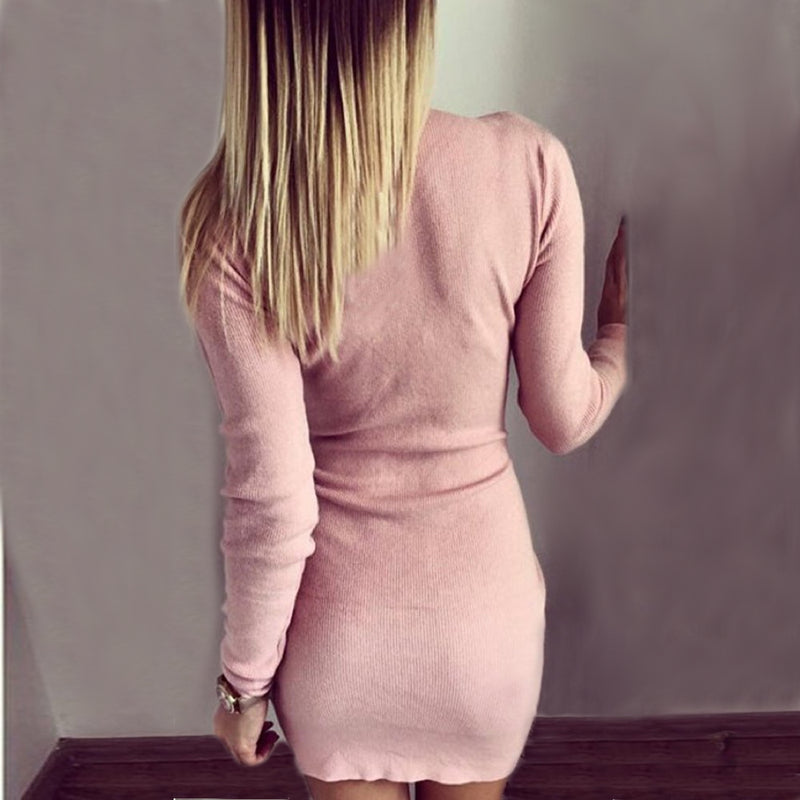 Long Sleeve Knitted O-Neck Bodycon Zippered Dress. (4 Colors Available)
