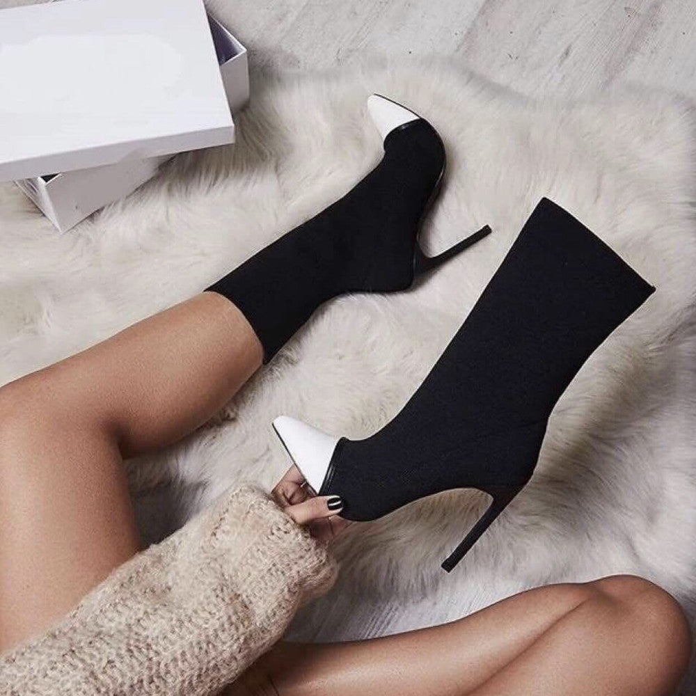 Pointed Toe Stretch Fabric High Heel Slip-On Ankle Boots. (2 Styles Available)