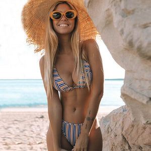 Striped Triangle Back Hook Two Piece Bikini.