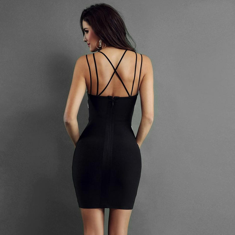 Backless Spaghetti Strap V-Neck Bandage Bodycon Dress.