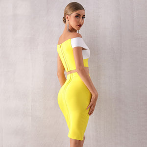 Slash Neck Two Piece Bodycon Bandage Dress. (2 Colors Available)